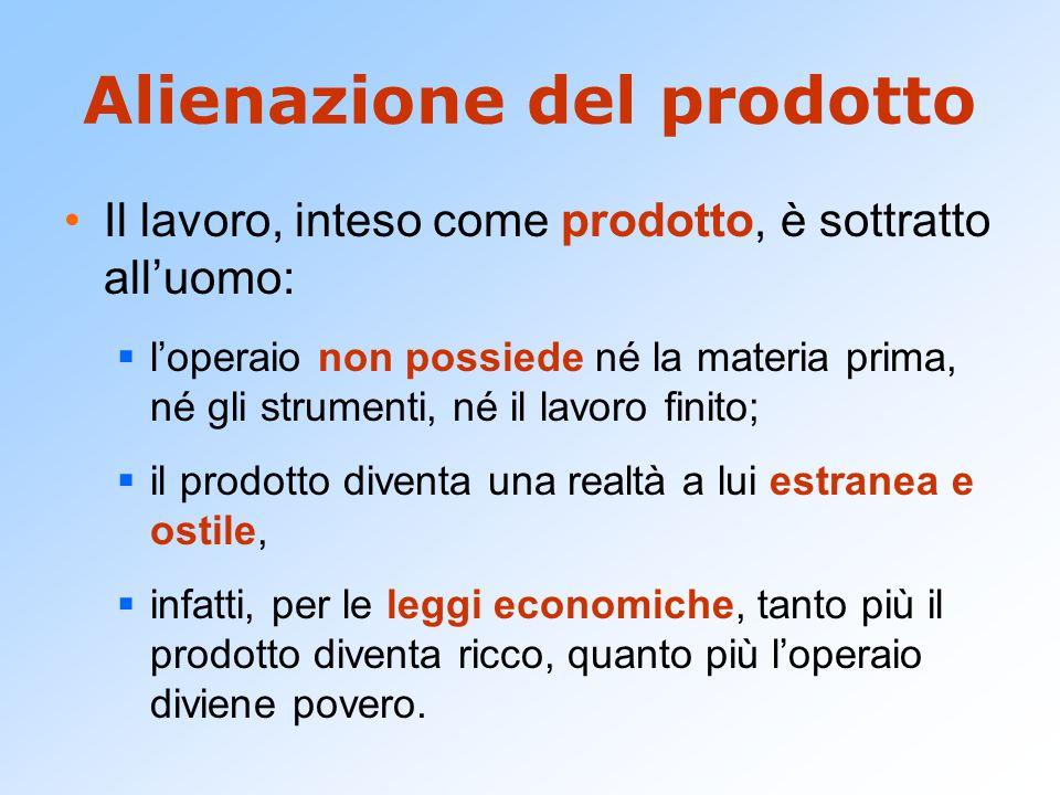 Alienazione del prodotto Il lavoro, inteso come prodotto, è sottratto all'uomo:  l'operaio non possiede né la materia prima, né gli strumenti, né il