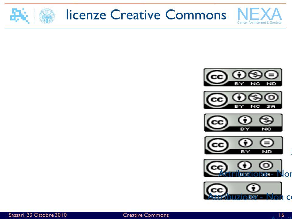 NEXA Center for Internet & Society Creative Commons16Sassari, 23 Ottobre 3010 6 combinazioni possibili Attribuzione - Non commerciale - Non opere derivate Attribuzione - Non commerciale - Condividi allo stesso modo Attribuzione - Non commerciale Attribuzione - Non opere derivate Attribuzione - Condividi allo stesso modo Attribuzione licenze Creative Commons