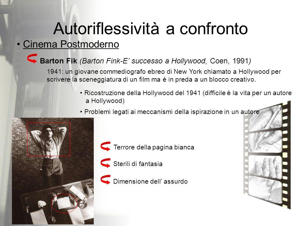 Barton Fik (Barton Fink-E' successo a Hollywood, Coen, 1991) Autoriflessività a confronto Cinema Postmoderno 1941: un giovane commediografo ebreo di N