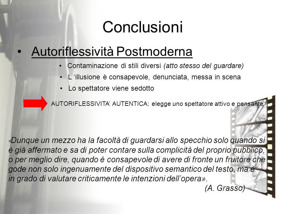 Conclusioni Autoriflessività Postmoderna Contaminazione di stili diversi (atto stesso del guardare) L 'illusione è consapevole, denunciata, messa in s