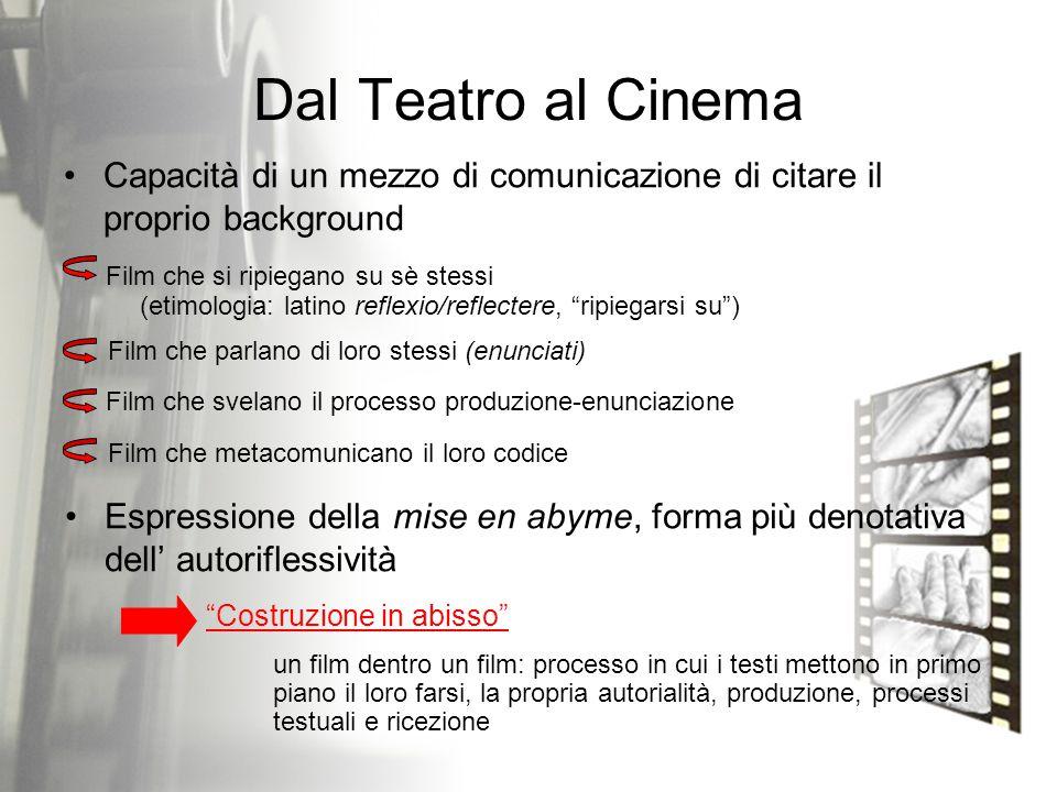 Dal Teatro al Cinema Capacità di un mezzo di comunicazione di citare il proprio background Film che si ripiegano su sè stessi (etimologia: latino refl