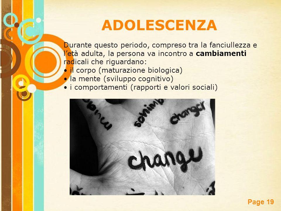Free Powerpoint Templates Page 19 Durante questo periodo, compreso tra la fanciullezza e l'età adulta, la persona va incontro a cambiamenti radicali c