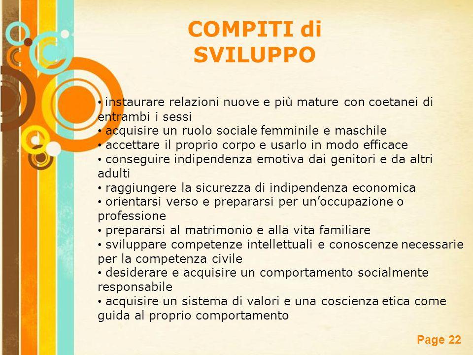Free Powerpoint Templates Page 22 COMPITI di SVILUPPO instaurare relazioni nuove e più mature con coetanei di entrambi i sessi acquisire un ruolo soci