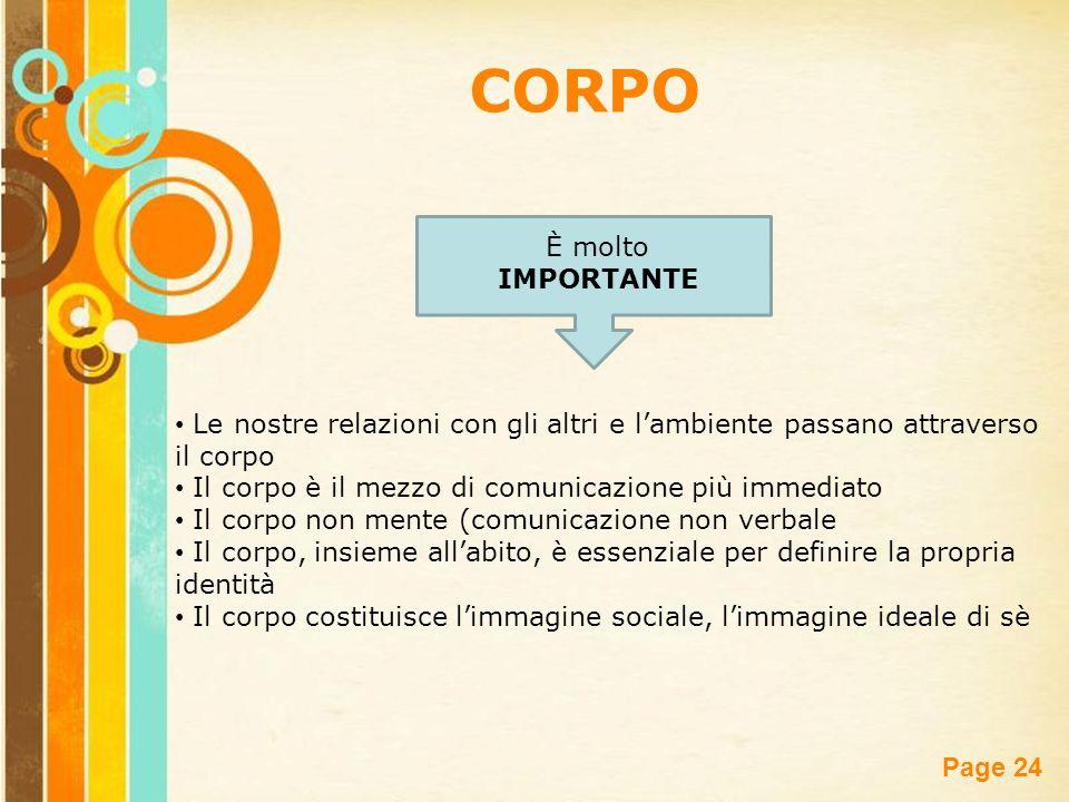 Free Powerpoint Templates Page 24 CORPO È molto IMPORTANTE Le nostre relazioni con gli altri e l'ambiente passano attraverso il corpo Il corpo è il me