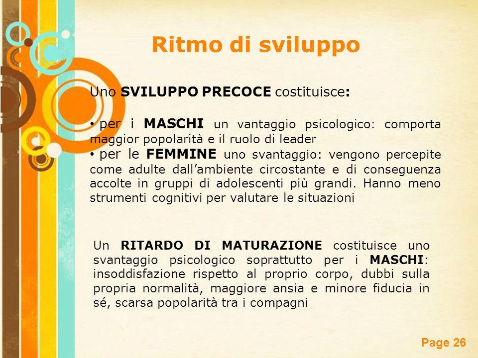 Free Powerpoint Templates Page 26 Uno SVILUPPO PRECOCE costituisce: per i MASCHI un vantaggio psicologico: comporta maggior popolarità e il ruolo di l