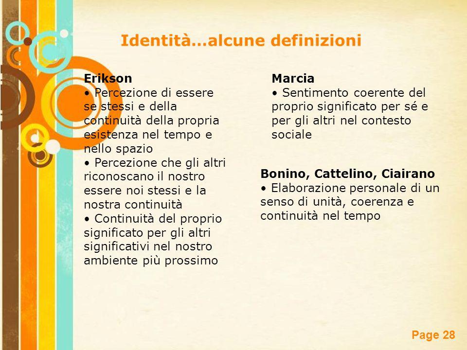 Free Powerpoint Templates Page 28 Identità…alcune definizioni Erikson Percezione di essere se stessi e della continuità della propria esistenza nel te