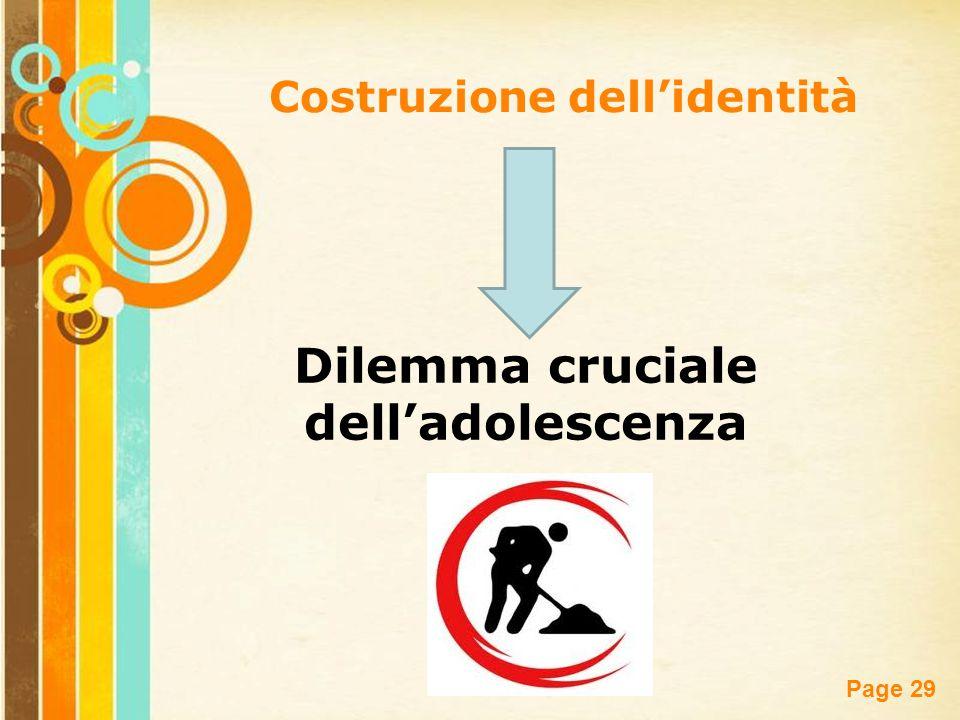 Free Powerpoint Templates Page 29 Costruzione dell'identità Dilemma cruciale dell'adolescenza