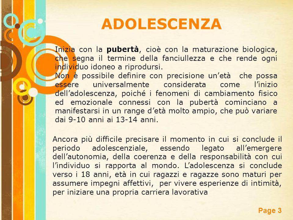 Free Powerpoint Templates Page 3 ADOLESCENZA Inizia con la pubertà, cioè con la maturazione biologica, che segna il termine della fanciullezza e che r