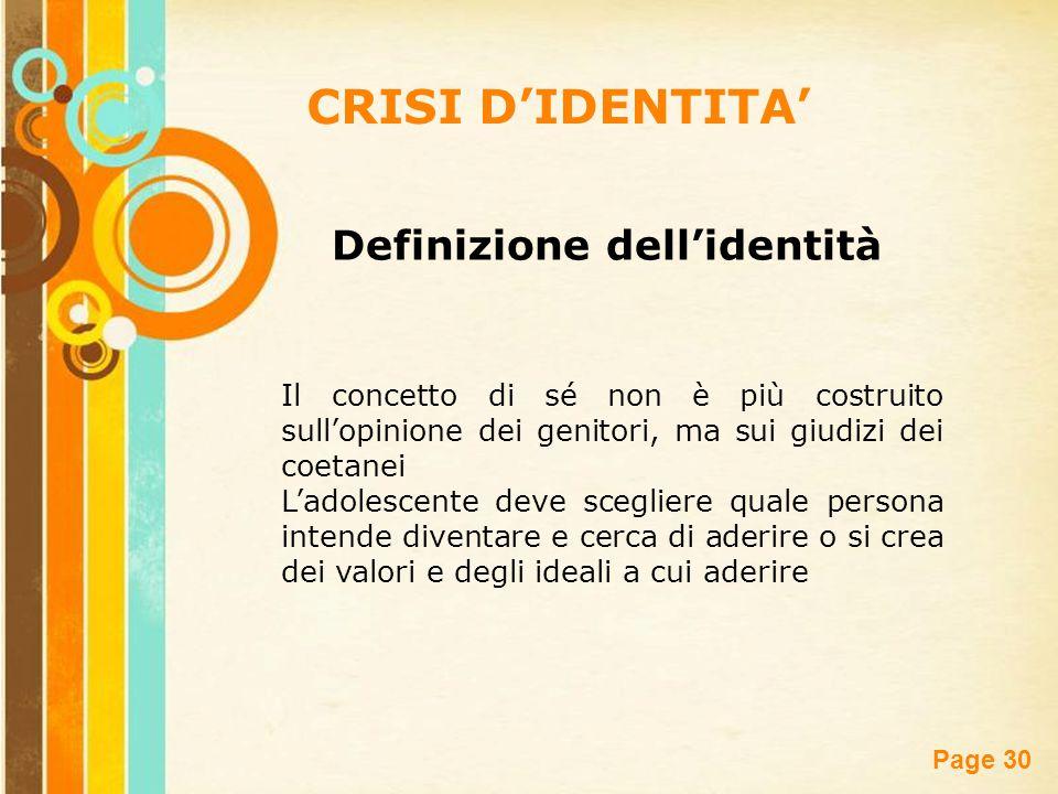 Free Powerpoint Templates Page 30 CRISI D'IDENTITA' Il concetto di sé non è più costruito sull'opinione dei genitori, ma sui giudizi dei coetanei L'ad