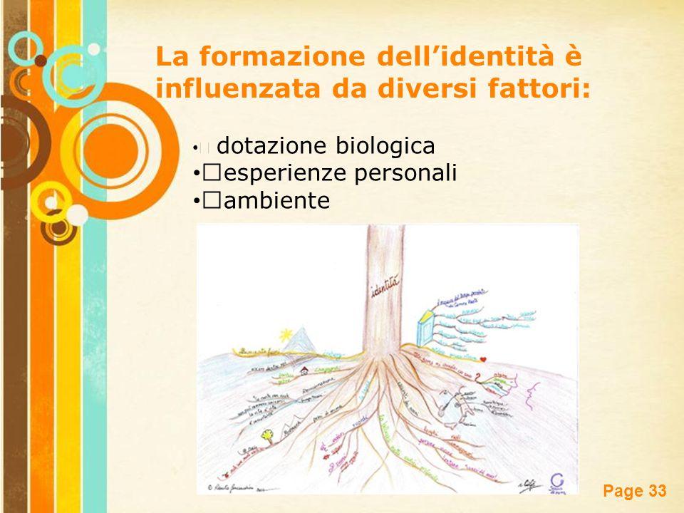Free Powerpoint Templates Page 33 La formazione dell'identità è influenzata da diversi fattori: dotazione biologica esperienze personali ambiente