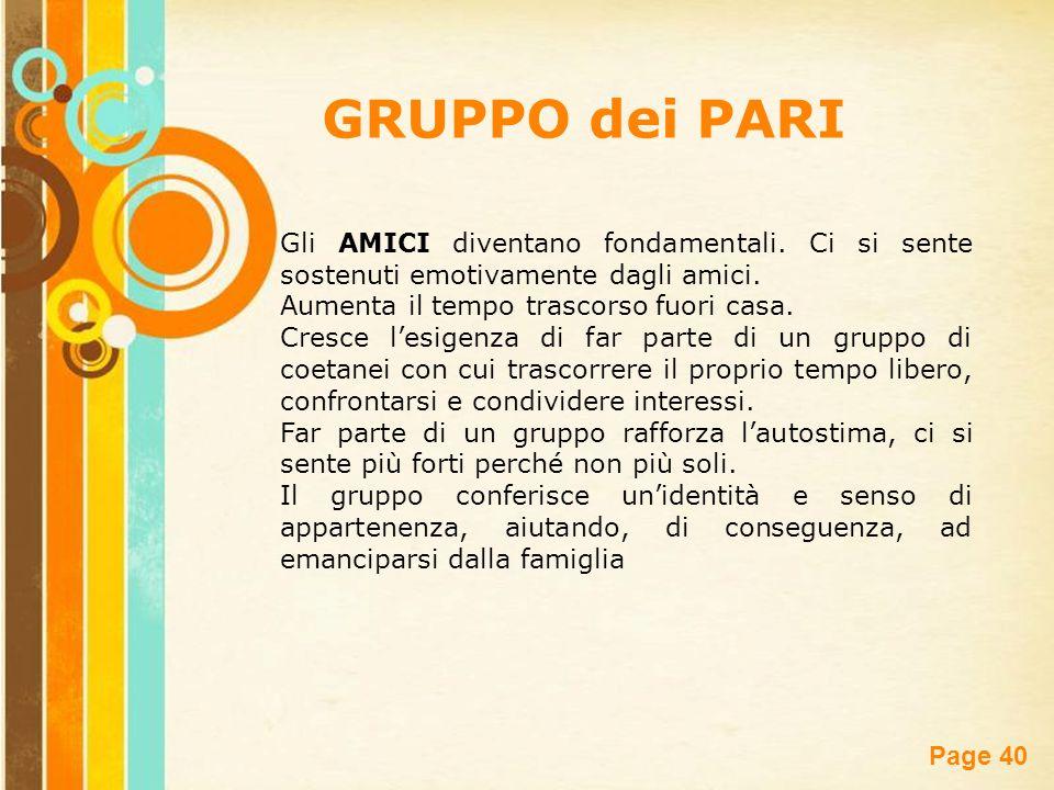 Free Powerpoint Templates Page 40 GRUPPO dei PARI Gli AMICI diventano fondamentali. Ci si sente sostenuti emotivamente dagli amici. Aumenta il tempo t