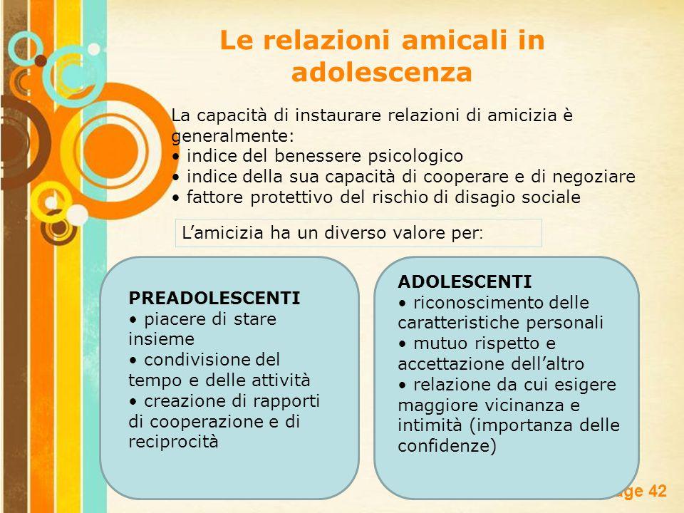Free Powerpoint Templates Page 42 Le relazioni amicali in adolescenza La capacità di instaurare relazioni di amicizia è generalmente: indice del benes