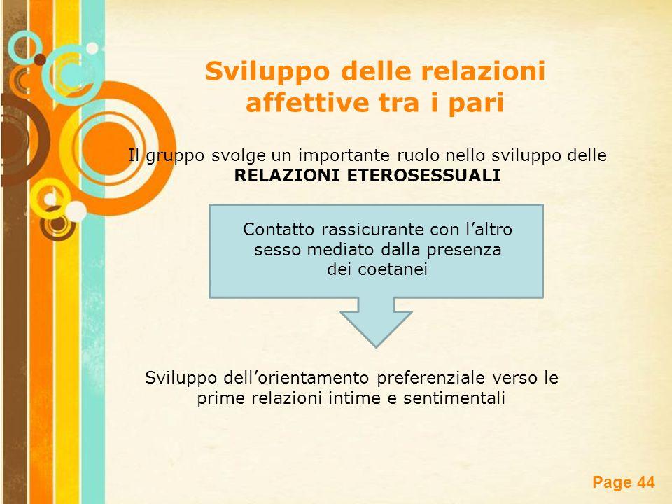 Free Powerpoint Templates Page 44 Sviluppo delle relazioni affettive tra i pari Il gruppo svolge un importante ruolo nello sviluppo delle RELAZIONI ET