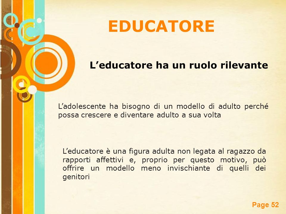 Free Powerpoint Templates Page 52 EDUCATORE L'educatore ha un ruolo rilevante L'educatore è una figura adulta non legata al ragazzo da rapporti affett