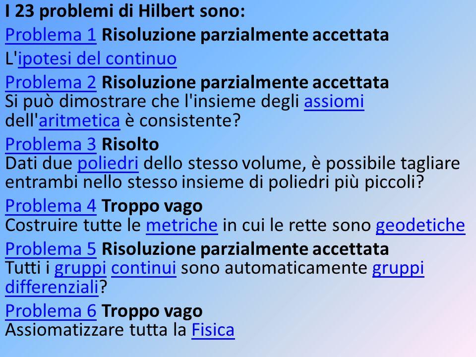 I 23 problemi di Hilbert sono: Problema 1Problema 1 Risoluzione parzialmente accettata L'ipotesi del continuoipotesi del continuo Problema 2Problema 2