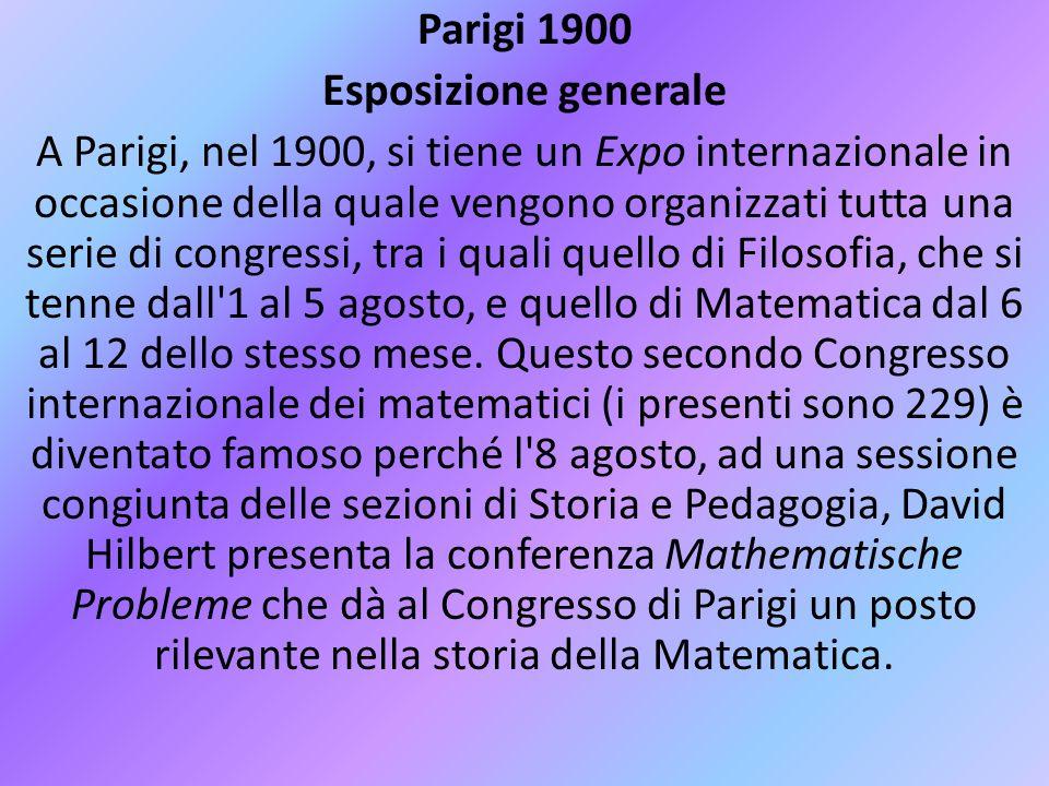 Parigi 1900 Esposizione generale A Parigi, nel 1900, si tiene un Expo internazionale in occasione della quale vengono organizzati tutta una serie di c