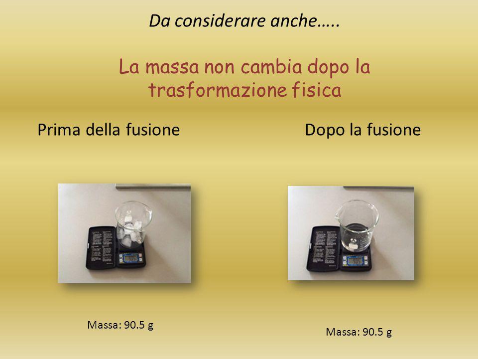 Da considerare anche….. La massa non cambia dopo la trasformazione fisica Prima della fusione Dopo la fusione Massa: 90.5 g