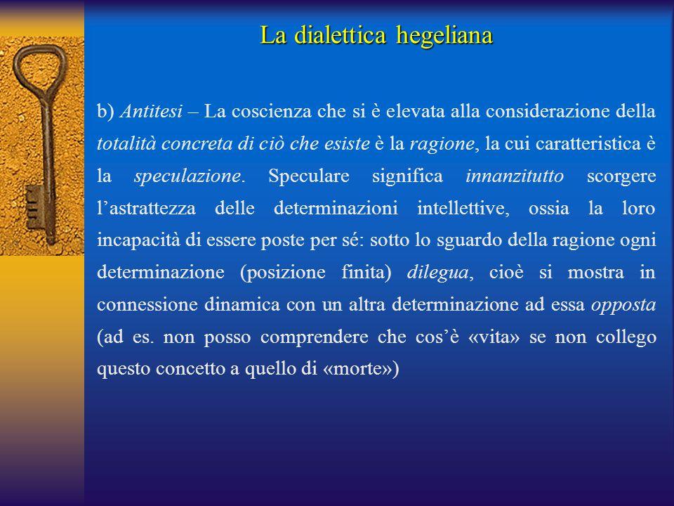 La dialettica hegeliana b) Antitesi – La coscienza che si è elevata alla considerazione della totalità concreta di ciò che esiste è la ragione, la cui