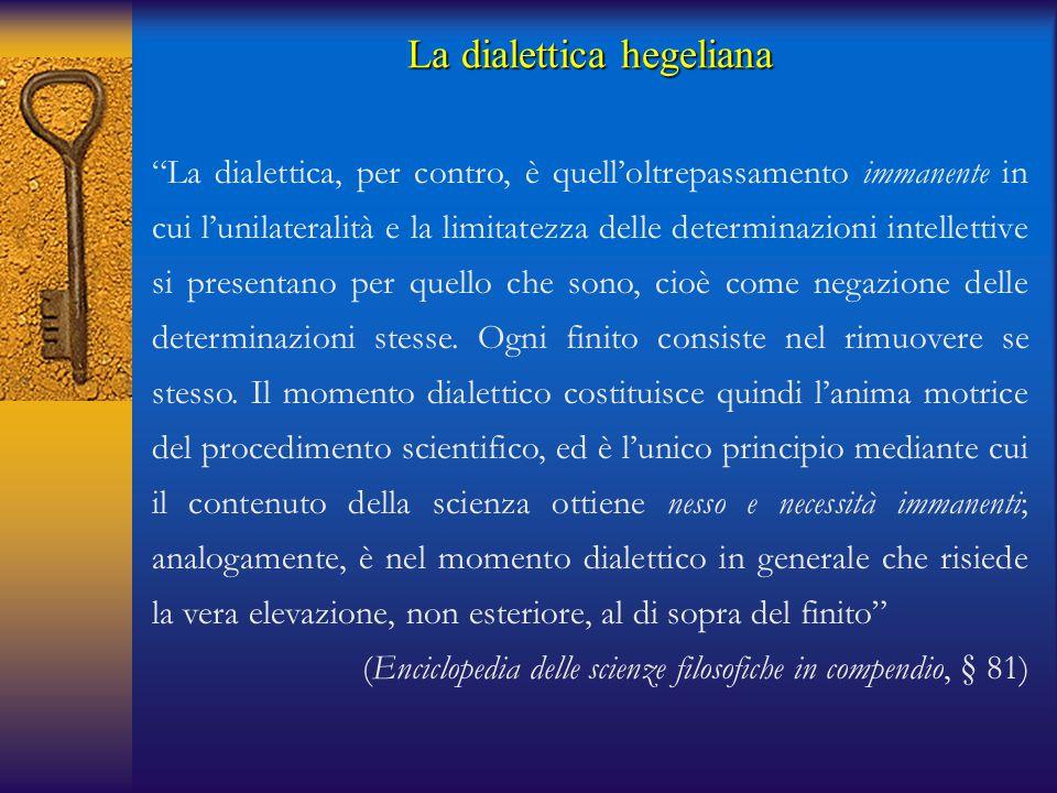 """La dialettica hegeliana """"La dialettica, per contro, è quell'oltrepassamento immanente in cui l'unilateralità e la limitatezza delle determinazioni int"""