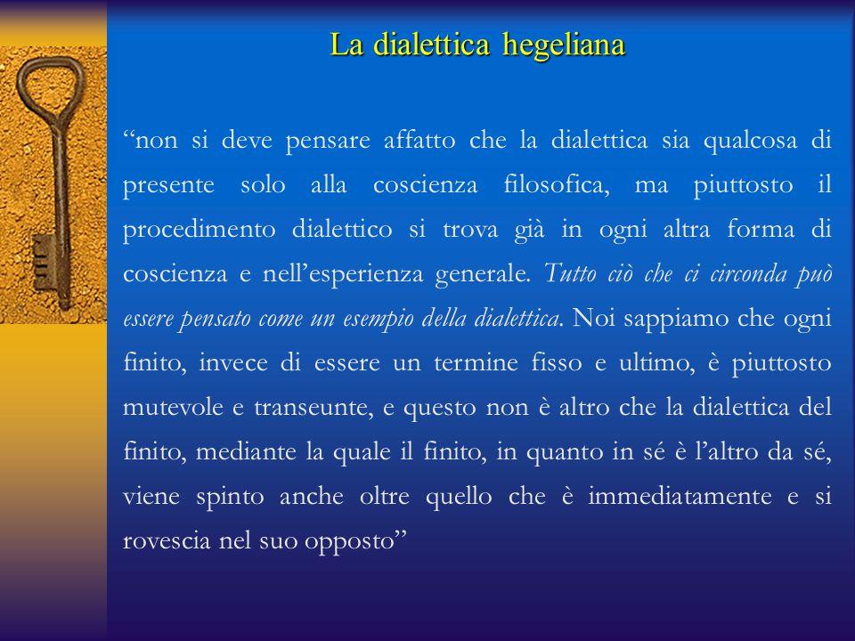 """La dialettica hegeliana """"non si deve pensare affatto che la dialettica sia qualcosa di presente solo alla coscienza filosofica, ma piuttosto il proced"""