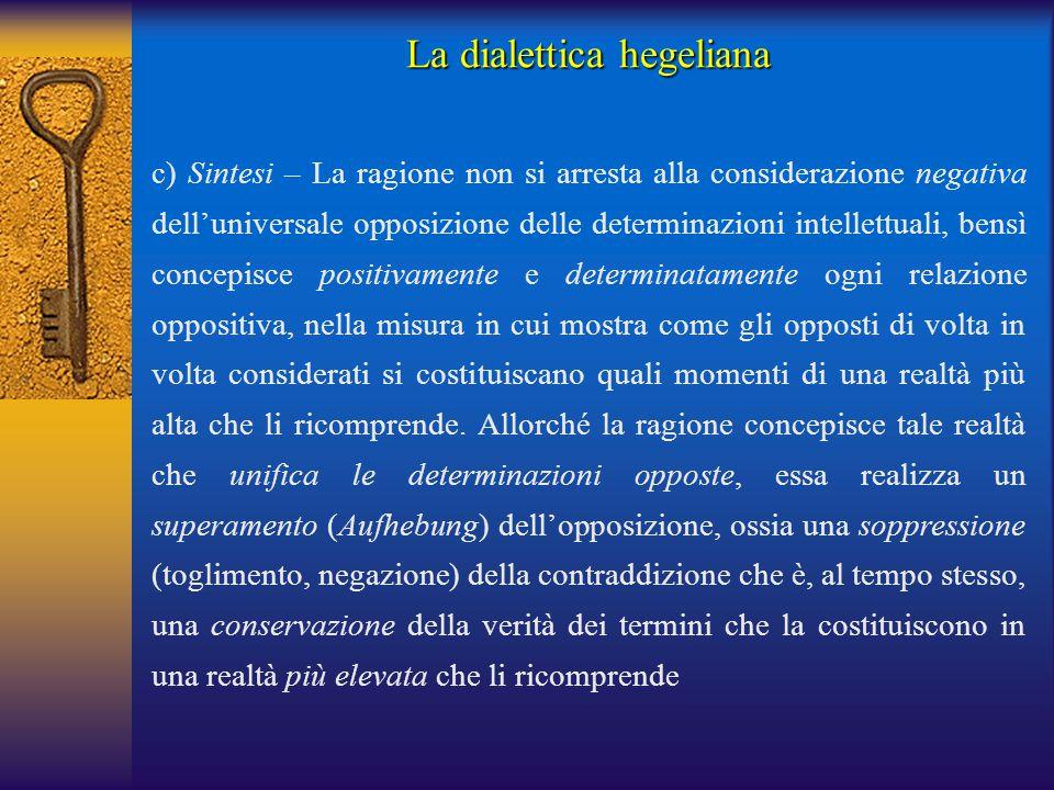 La dialettica hegeliana c) Sintesi – La ragione non si arresta alla considerazione negativa dell'universale opposizione delle determinazioni intellett
