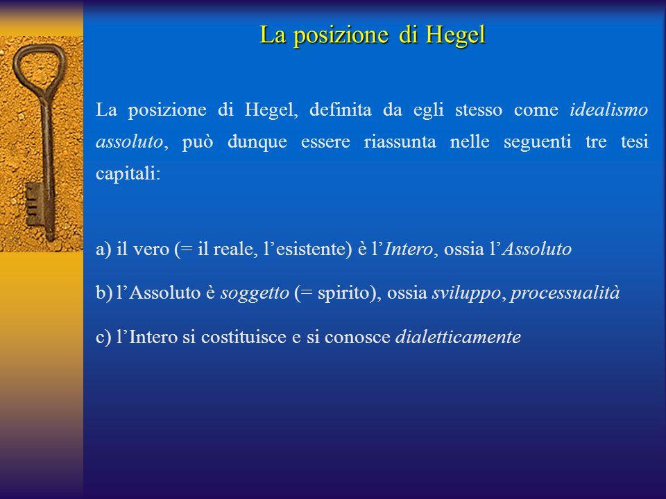 La posizione di Hegel La posizione di Hegel, definita da egli stesso come idealismo assoluto, può dunque essere riassunta nelle seguenti tre tesi capi