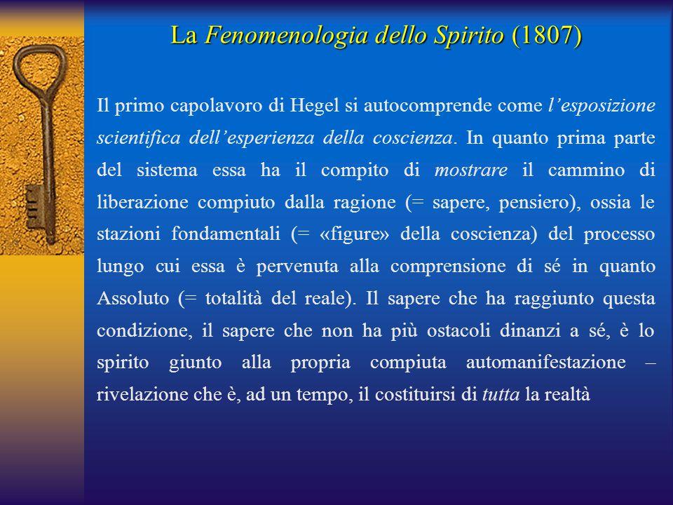 La Fenomenologia dello Spirito (1807) Il primo capolavoro di Hegel si autocomprende come l'esposizione scientifica dell'esperienza della coscienza. In