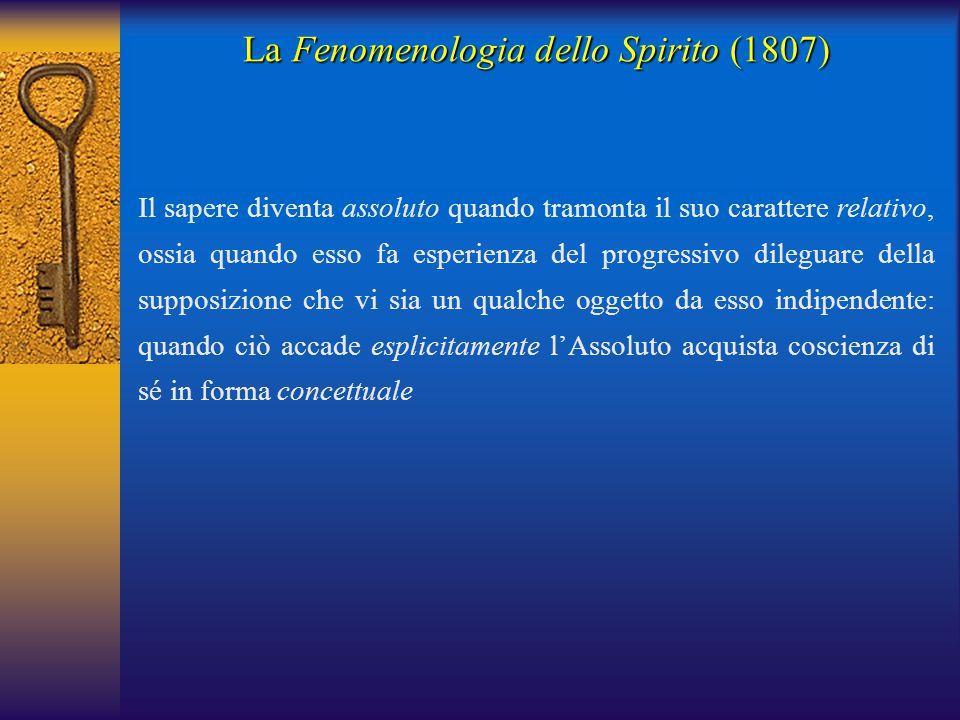 La Fenomenologia dello Spirito (1807) Il sapere diventa assoluto quando tramonta il suo carattere relativo, ossia quando esso fa esperienza del progre