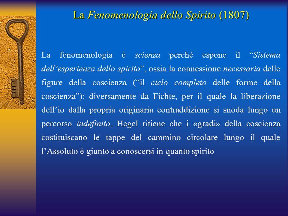 """La Fenomenologia dello Spirito (1807) La fenomenologia è scienza perché espone il """"Sistema dell'esperienza dello spirito"""", ossia la connessione necess"""