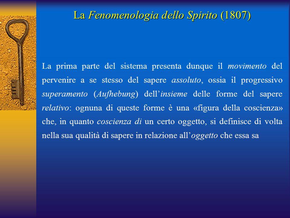 La Fenomenologia dello Spirito (1807) La prima parte del sistema presenta dunque il movimento del pervenire a se stesso del sapere assoluto, ossia il