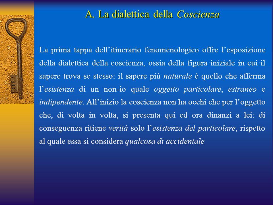 La prima tappa dell'itinerario fenomenologico offre l'esposizione della dialettica della coscienza, ossia della figura iniziale in cui il sapere trova