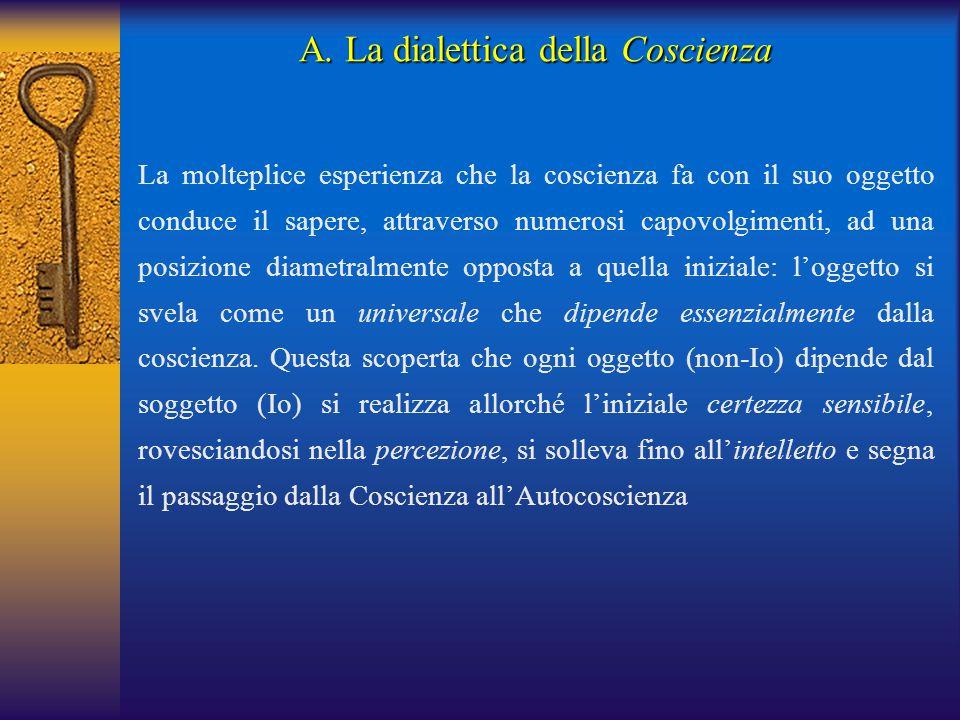 La molteplice esperienza che la coscienza fa con il suo oggetto conduce il sapere, attraverso numerosi capovolgimenti, ad una posizione diametralmente