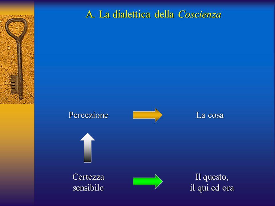 Certezzasensibile Percezione Il questo, il qui ed ora La cosa A. La dialettica della Coscienza