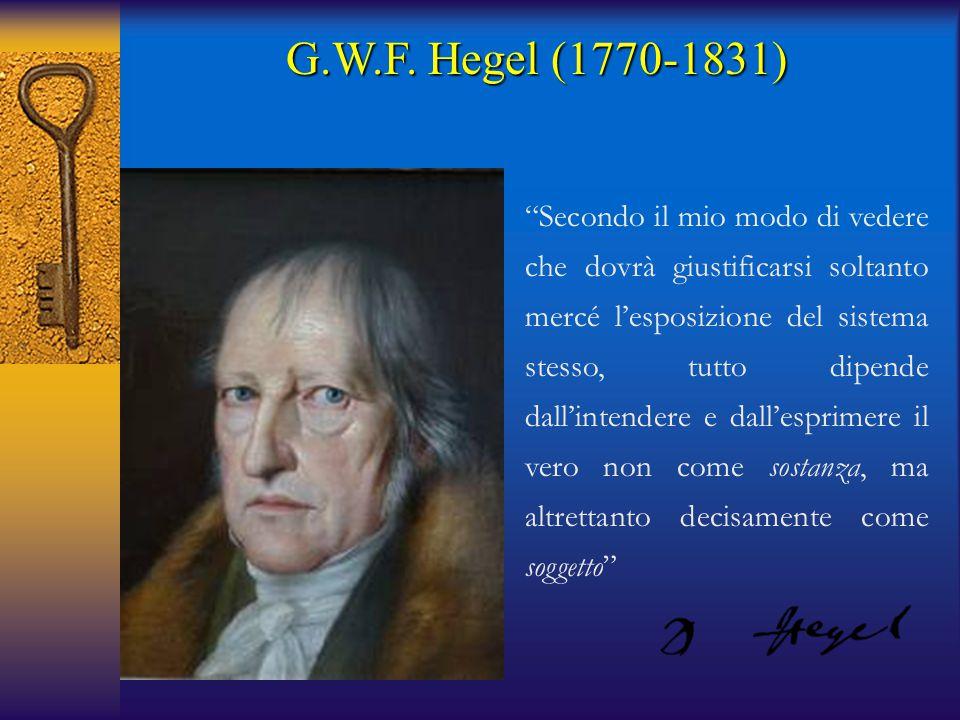 """G.W.F. Hegel (1770-1831) """"Secondo il mio modo di vedere che dovrà giustificarsi soltanto mercé l'esposizione del sistema stesso, tutto dipende dall'in"""
