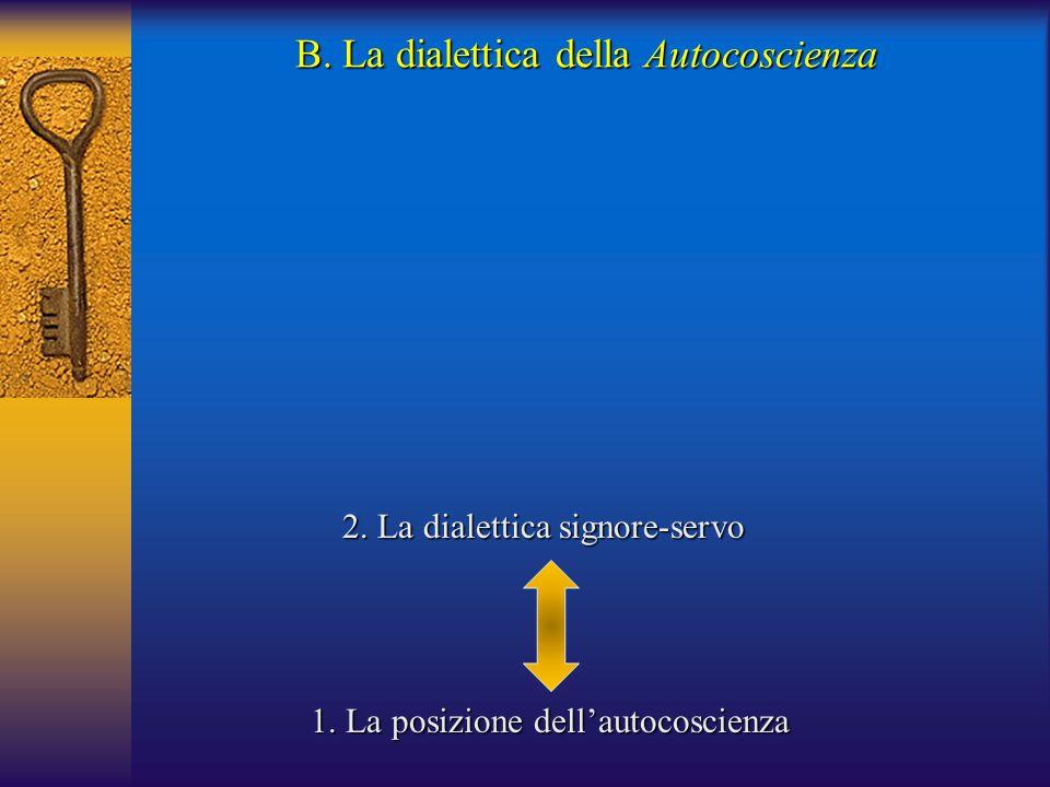 B. La dialettica della Autocoscienza 1. La posizione dell'autocoscienza 2. La dialettica signore-servo