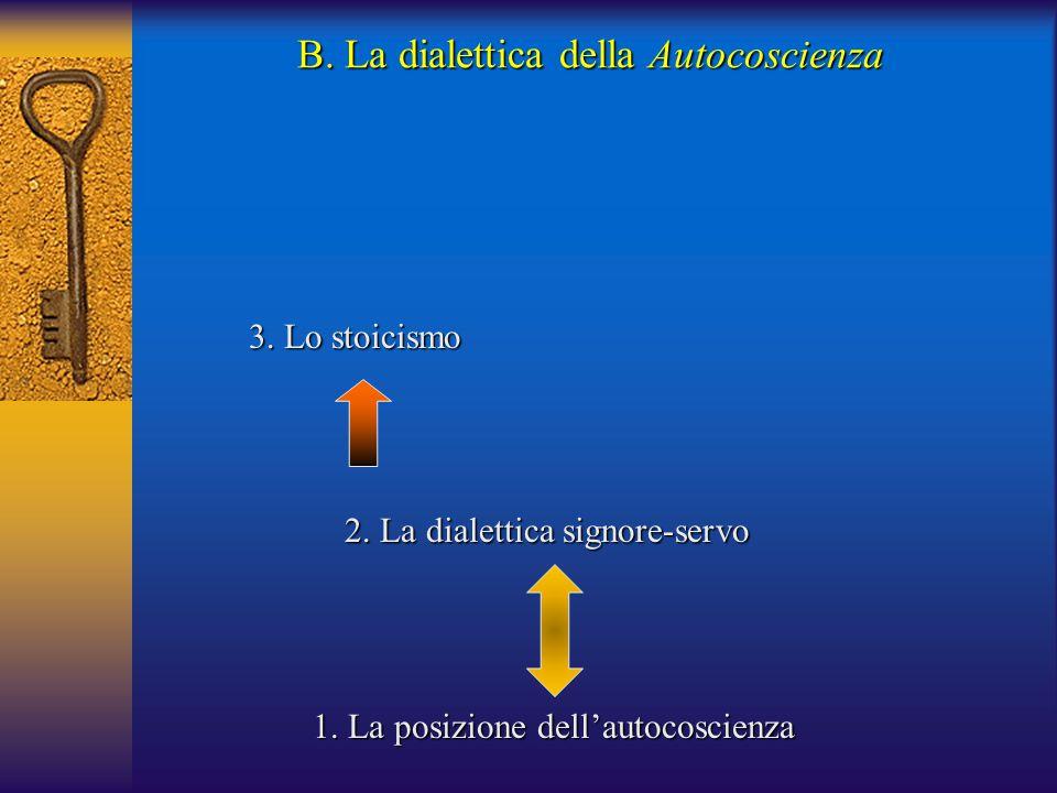 3. Lo stoicismo B. La dialettica della Autocoscienza 1. La posizione dell'autocoscienza 2. La dialettica signore-servo