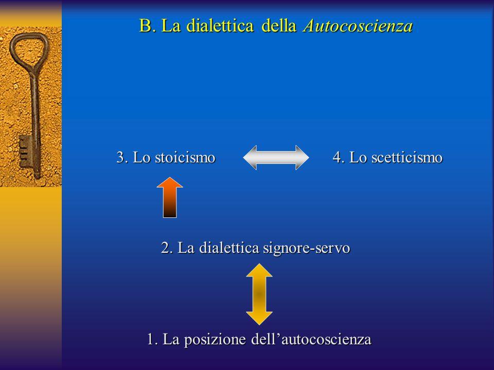 3. Lo stoicismo B. La dialettica della Autocoscienza 4. Lo scetticismo 1. La posizione dell'autocoscienza 2. La dialettica signore-servo