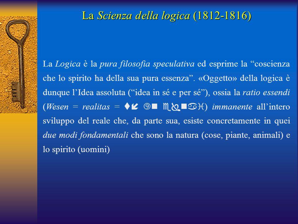 """La Logica è la pura filosofia speculativa ed esprime la """"coscienza che lo spirito ha della sua pura essenza"""". «Oggetto» della logica è dunque l'Idea a"""