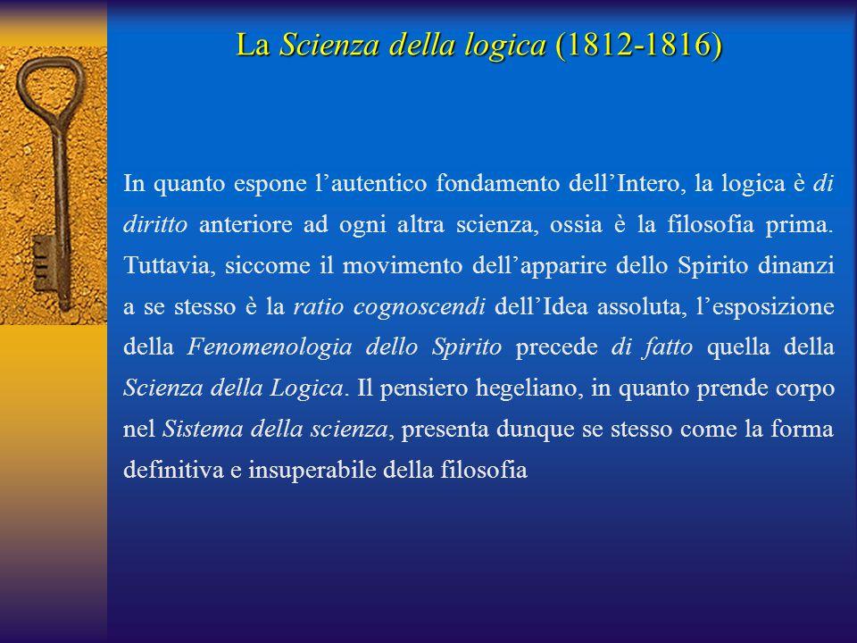 In quanto espone l'autentico fondamento dell'Intero, la logica è di diritto anteriore ad ogni altra scienza, ossia è la filosofia prima. Tuttavia, sic