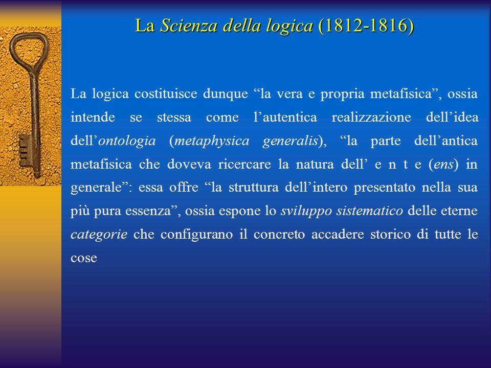 """La logica costituisce dunque """"la vera e propria metafisica"""", ossia intende se stessa come l'autentica realizzazione dell'idea dell'ontologia (metaphys"""