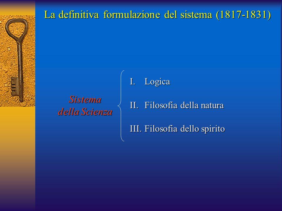 La definitiva formulazione del sistema (1817-1831) Sistema della Scienza I.Logica II.Filosofia della natura III.Filosofia dello spirito