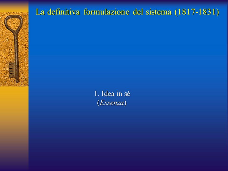 1. Idea in sé (Essenza) La definitiva formulazione del sistema (1817-1831)