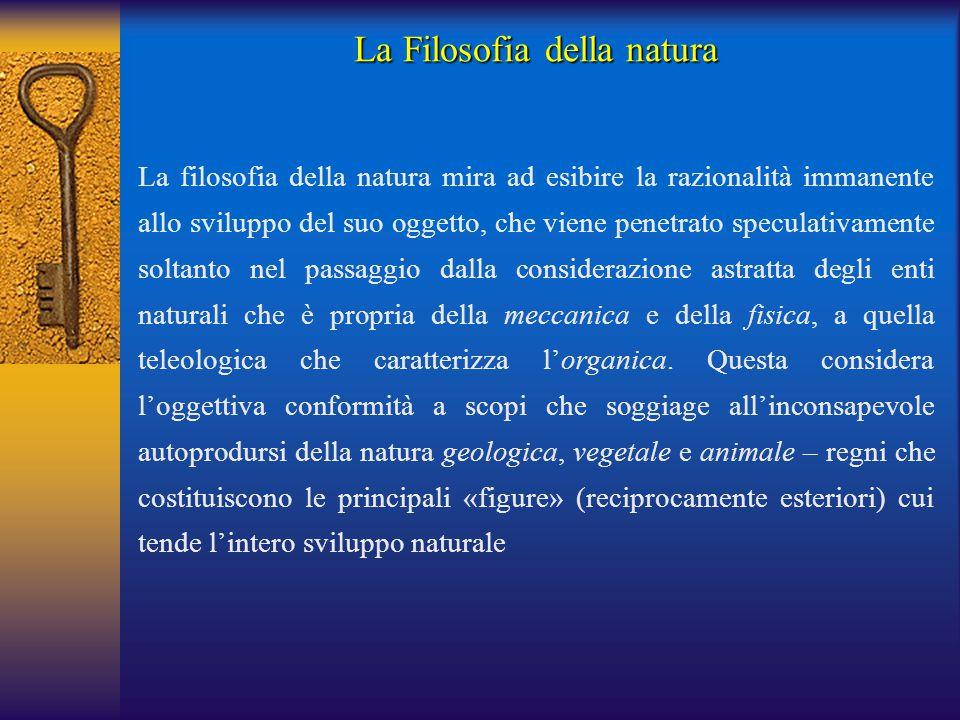 La Filosofia della natura La filosofia della natura mira ad esibire la razionalità immanente allo sviluppo del suo oggetto, che viene penetrato specul