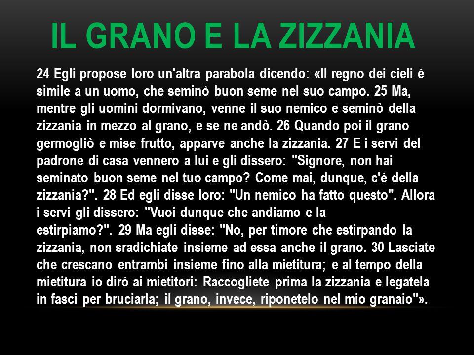 IL GRANO E LA ZIZZANIA 24 Egli propose loro un'altra parabola dicendo: «Il regno dei cieli è simile a un uomo, che seminò buon seme nel suo campo. 25