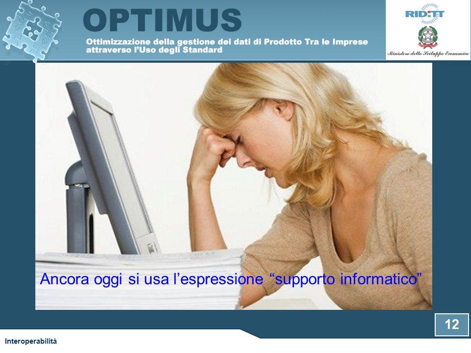Ancora oggi si usa l'espressione supporto informatico Interoperabilità 12