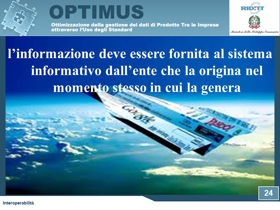 l'informazione deve essere fornita al sistema informativo dall'ente che la origina nel momento stesso in cui la genera Interoperabilità 24