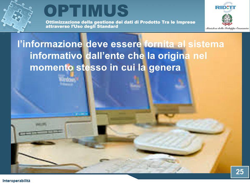 l'informazione deve essere fornita al sistema informativo dall'ente che la origina nel momento stesso in cui la genera Interoperabilità 25