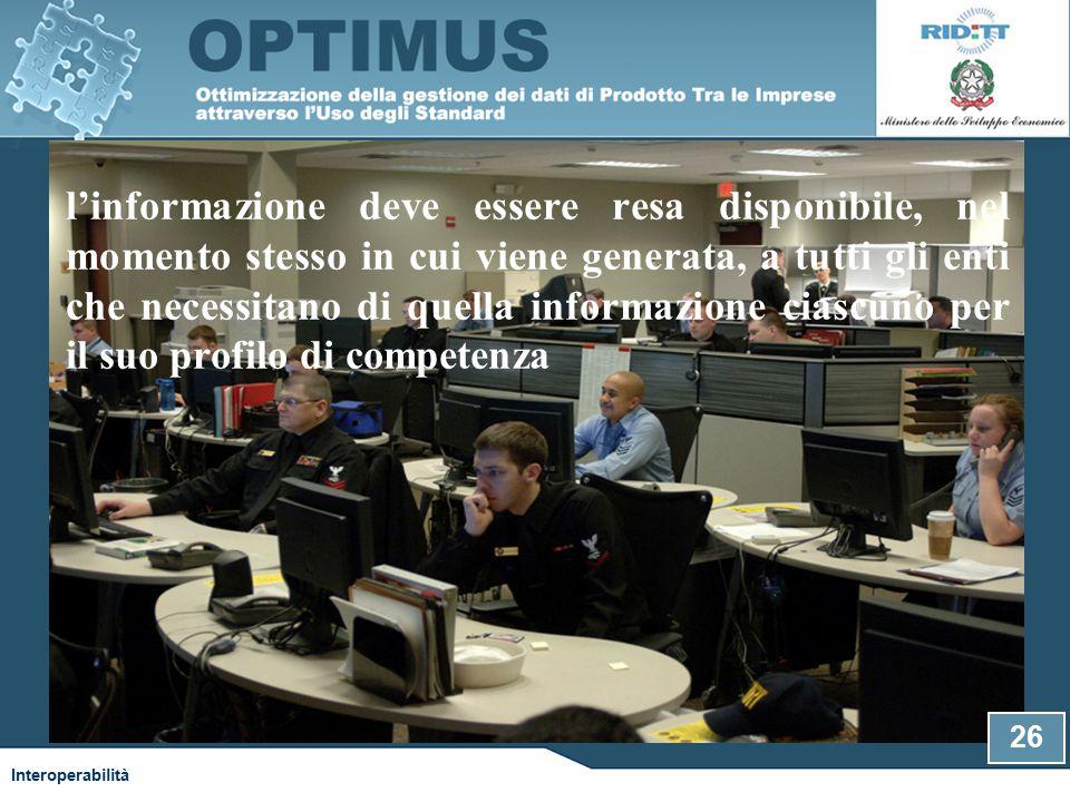 l'informazione deve essere resa disponibile, nel momento stesso in cui viene generata, a tutti gli enti che necessitano di quella informazione ciascuno per il suo profilo di competenza Interoperabilità 26