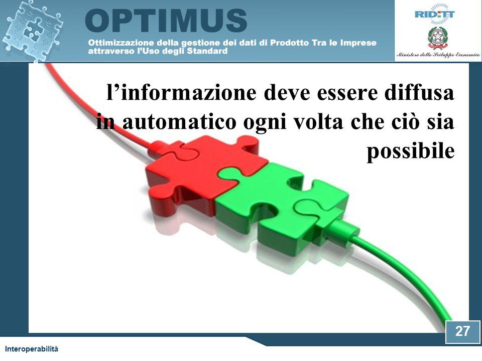 l'informazione deve essere diffusa in automatico ogni volta che ciò sia possibile Interoperabilità 27