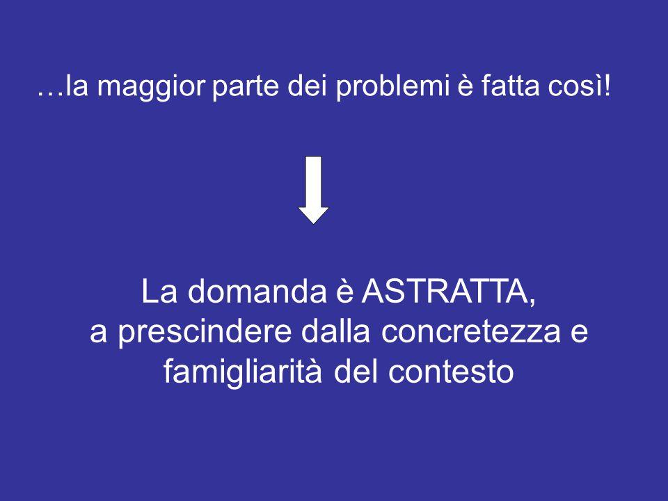…la maggior parte dei problemi è fatta così! La domanda è ASTRATTA, a prescindere dalla concretezza e famigliarità del contesto